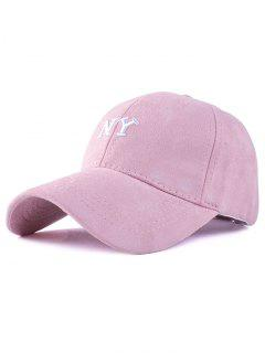 NY Embroidery Faux Suede Baseball Hat - Pink