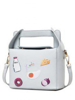 Food Pattern Magnetic Color Splicing Crossbody Bag - Light Gray