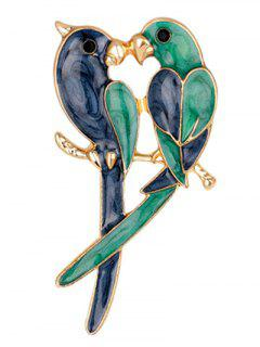 Two Parrots Enamel Brooch - Blue And Green