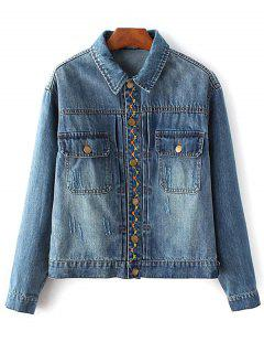 Floral Bird Embroidered Denim Jacket With Pockets - Deep Blue S