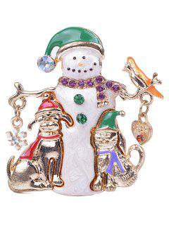 Enamel Snowman Christmas Brooch Pin