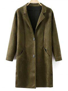 Faux Suede Lapel Coat - Blackish Green M