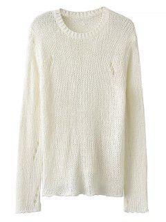 Ouvrez Knit Pull Ras Du Cou - Blanc
