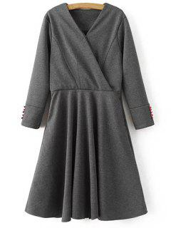 Manches Longues Crossover Midi Dress - Gris S