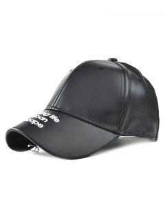 Hoop Embroidery PU Baseball Hat - Black