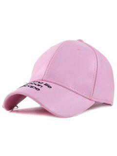 Hoop Embroidery PU Baseball Hat - Pink