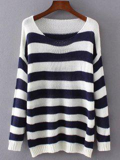 Striped Oversized Sweater - Blue And White