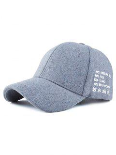 Embroidery Felt Baseball Hat - Blue Gray
