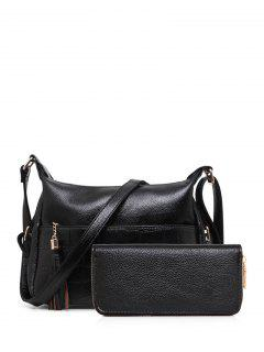 Tassels Embossing PU Leather Crossbody Bag - Black