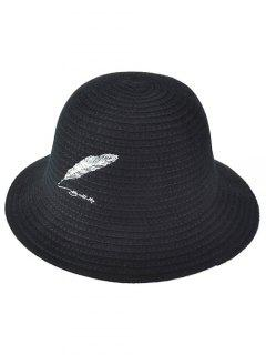 Feather Embroidery Knit Bucket Hat - Black