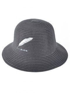 Feather Embroidery Knit Bucket Hat - Gray