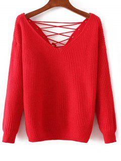 V Neck Lace-Up Back Sweater - Red