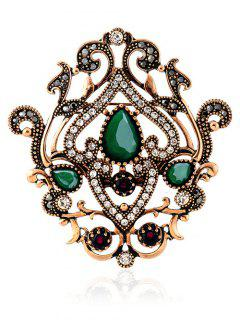 Hollow Out Artificial Gem Brooch - Green
