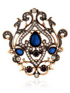Hollow Out Artificial Gem Brooch - Blue