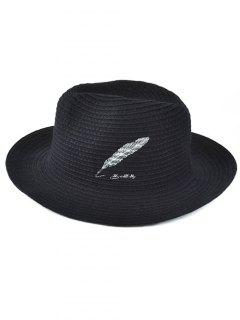 Feather Embroidery Knit Fedora - Black
