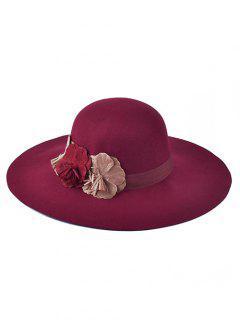 Handmade Flower Felt Floppy Hat - Wine Red