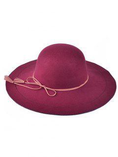 Tassel Lace-Up Felt Floppy Hat - Wine Red