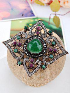 Hollow Out Artificial Gem Floral Brooch - Green