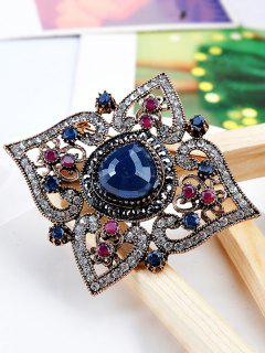 Hollow Out Artificial Gem Floral Brooch - Blue