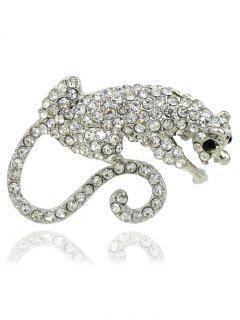Rhinestone Leopard Animal Brooch - Silver