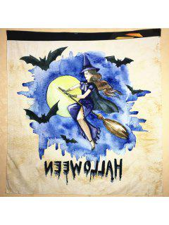 Halloween Watercolour Witch Square Scarf - Off-white