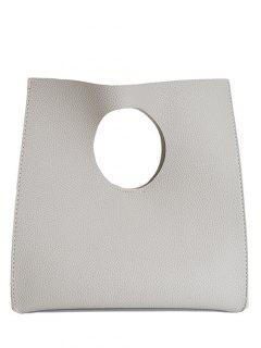 Snap Closure PU Leather Tote Bag - Light Gray