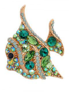 Geometry Faux Gem Fish Brooch - Green