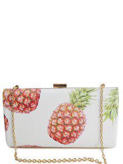 Pineapple Print Metal Color Block Evening Bag - White