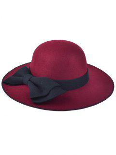 Big Bowknot Felt Floppy Hat - Wine Red