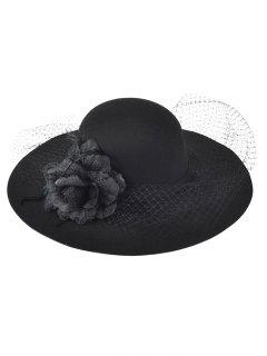 Flower Mesh Felt Floppy Cloche Hat - Black
