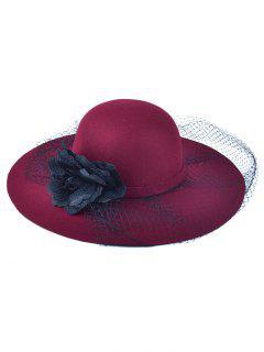 Flower Mesh Felt Floppy Cloche Hat - Wine Red