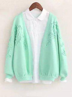 Floral Applique Cardigan - Green