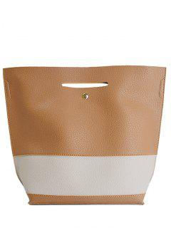 Color Splicing Textured Leather Tote Bag - Light Brown