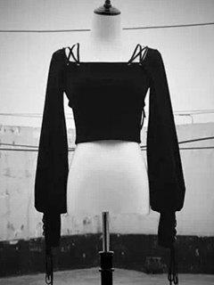 Hasta La Plaza De Encaje De Cuello Recortada De La Camiseta - Negro