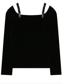 Cold Shoulder Pleuche T-Shirt - Black