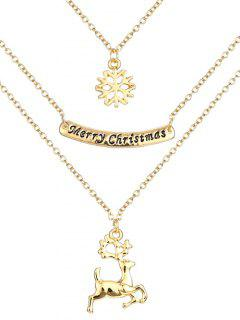 Snowflake Deer Christmas Necklace - Golden