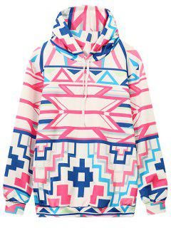 Hooded Geometric Pattern Sweatshirt - Multicolor M