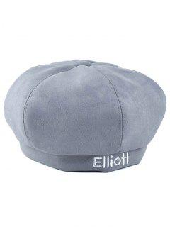 Letter Embroidery Faux Suede French Beret - Light Gray
