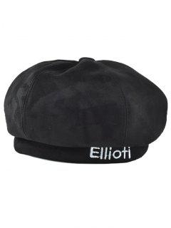 Letter Embroidery Faux Suede French Beret - Black