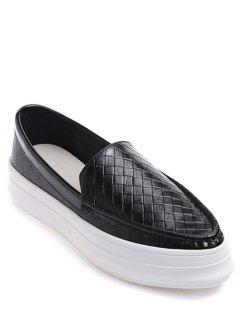 Plaid Pattern PU Leather Embossing Flat Shoes - Black 38