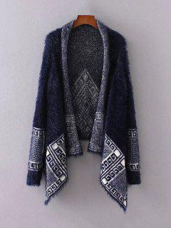 Fuzzy Printed Cape Cardigan - Purplish Blue