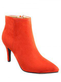 Flock Pointed Toe Stiletto Heel Ankle Boots - Jacinth 37