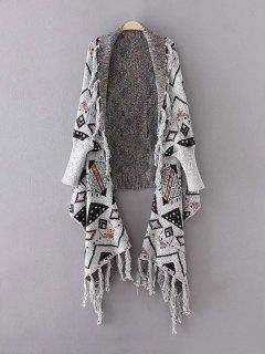 Fringed Cape Jacquard Cardigan - Gray
