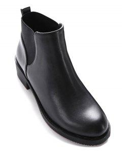 Elastic Round Toe PU Leather Ankle Boots - Black 37