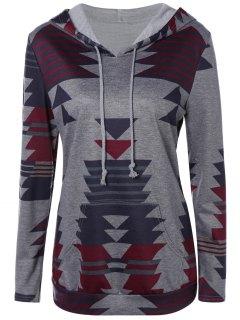 Geometric Print Pullover Hoodie - Gray L