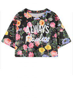 Letter Floral Print Cropped Tee - Black
