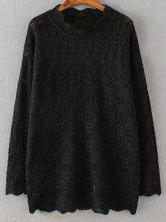 Casual Cut Out Sweater - Black 4xl