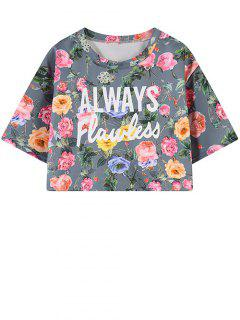 Letter Floral Print Cropped Tee - Blue Gray
