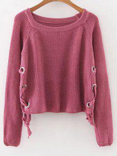 Lace-Up Casual Sweater - Pourpre M