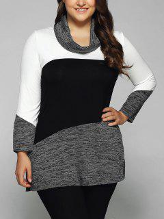 Heathered Cowl Neck Plus Size Blouse - White And Black Xl